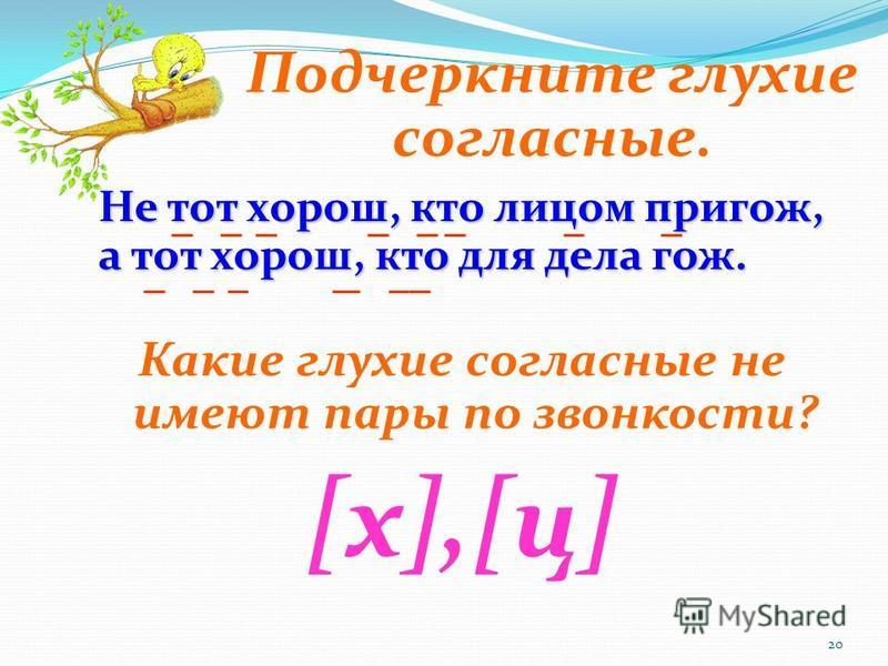 20 Не тот хорош, кто лицом пригож, а тот хорош, кто для дела гож. Какие глухие согласные не имеют пары по звонкости? [х],[ц][х],[ц] Подчеркните глухие согласные.