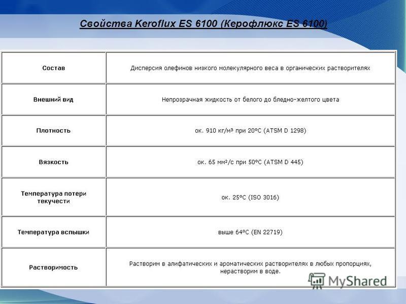 Свойства Keroflux ES 6100 (Керофлюкс ES 6100)