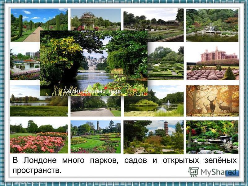 В Лондоне много парков, садов и открытых зелёных пространств. Сады дворца Кенсингтон