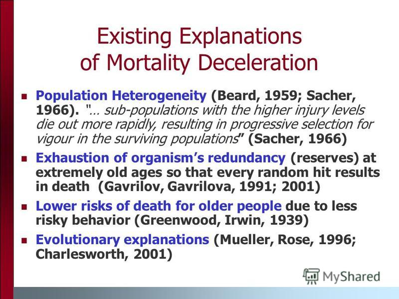 Existing Explanations of Mortality Deceleration Population Heterogeneity (Beard, 1959; Sacher, 1966). … sub-populations with the higher injury levels die out more rapidly, resulting in progressive selection for vigour in the surviving populations (Sa