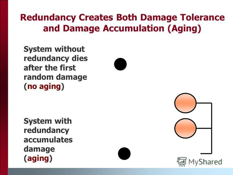Redundancy Creates Both Damage Tolerance and Damage Accumulation (Aging) System with redundancy accumulates damage (aging) System without redundancy dies after the first random damage (no aging)