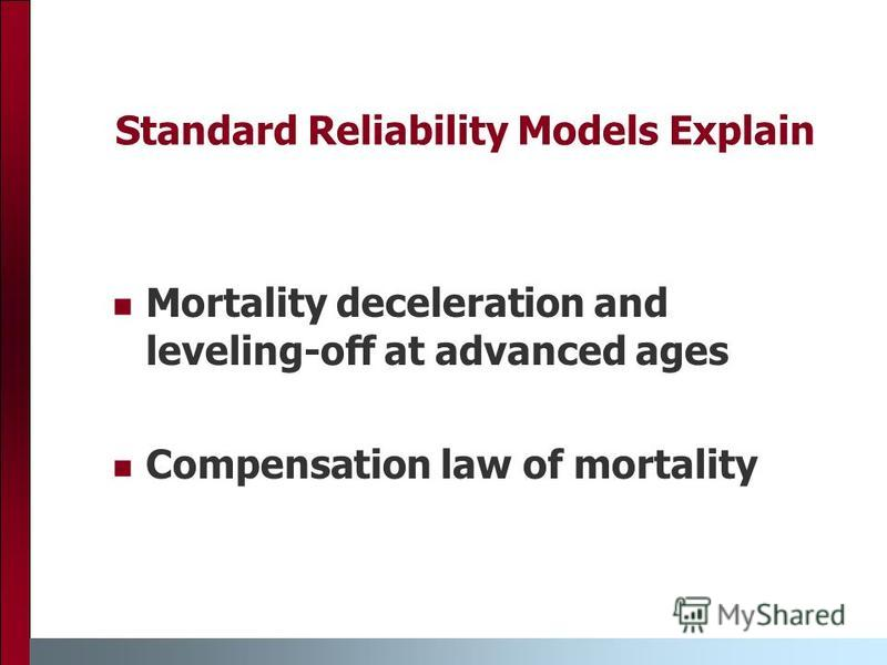 Standard Reliability Models Explain Mortality deceleration and leveling-off at advanced ages Compensation law of mortality