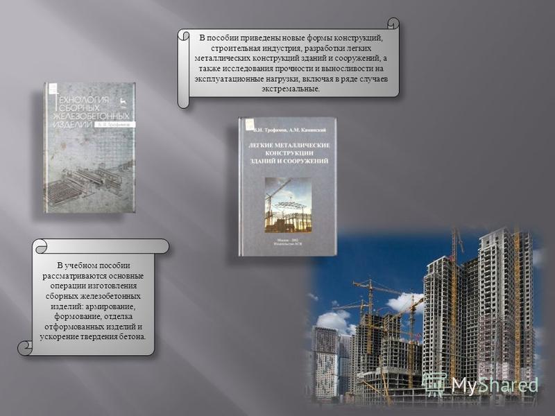 В учебном пособии рассматриваются основные операции изготовления сборных железобетонных изделий: армирование, формование, отделка отформованных изделий и ускорение твердения бетона. В пособии приведены новые формы конструкций, строительная индустрия,
