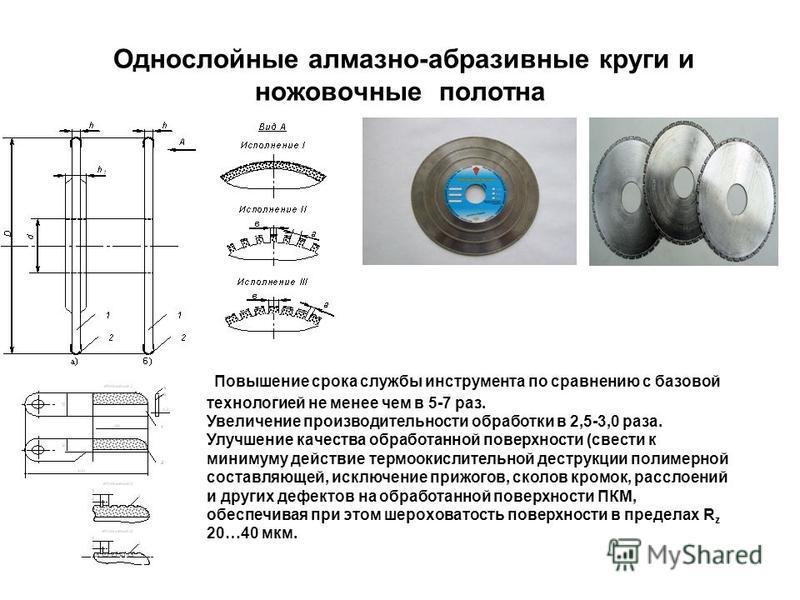 Однослойные алмазно-абразивные круги и ножовочные полотна Повышение срока службы инструмента по сравнению с базовой технологией не менее чем в 5-7 раз. Увеличение производительности обработки в 2,5-3,0 раза. Улучшение качества обработанной поверхност