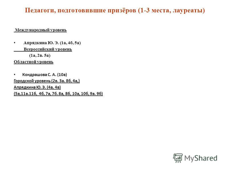Педагоги, подготовившие призёров (1-3 места, лауреаты) Международный уровень Апрядкина Ю. Э. (1 а, 4 б, 5 а) Всероссийский уровень (1 а, 2 в. 5 а) Областной уровень Кондрашова С. А. (10 а) Городской уровень (2 в. 3 а. 8 б, 4 а,) Апрядкина Ю. Э. (4 а,