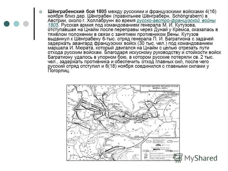 Шёнграбенский бой 1805 между русскими и французскими войсками 4(16) ноября близ дер. Шёнграбен (правильнее Шёнграберн, Schöngrabern) в Австрии, около г. Холлабрунн во время русско-австро-французской войны 1805. Русская армия под командованием генерал