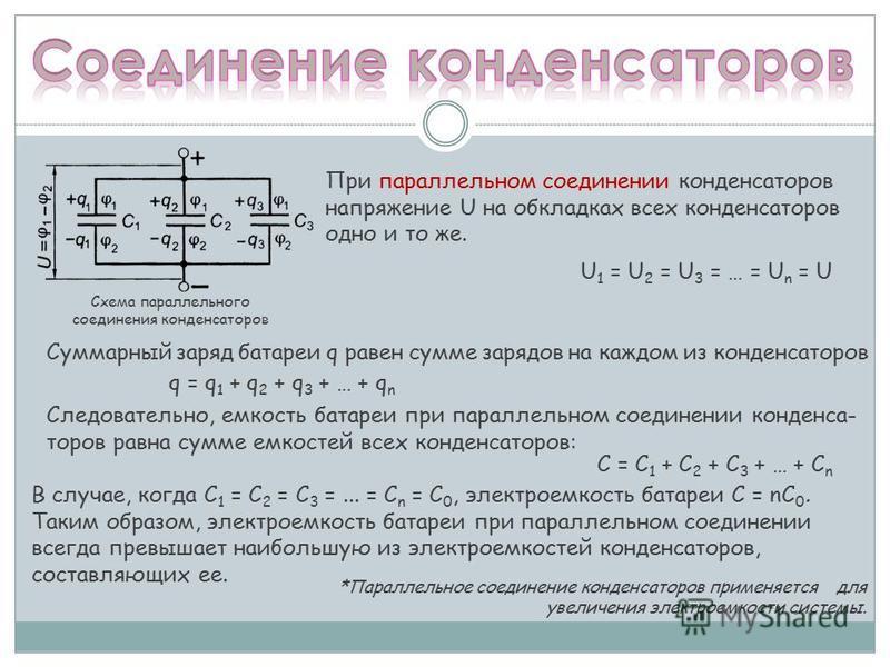 При параллельном соединении конденсаторов напряжение U на обкладках всех конденсаторов одно и то же. Суммарный заряд батареи q равен сумме зарядов на каждом из конденсаторов U 1 = U 2 = U 3 = … = U n = U q = q 1 + q 2 + q 3 + … + q n Следовательно, е