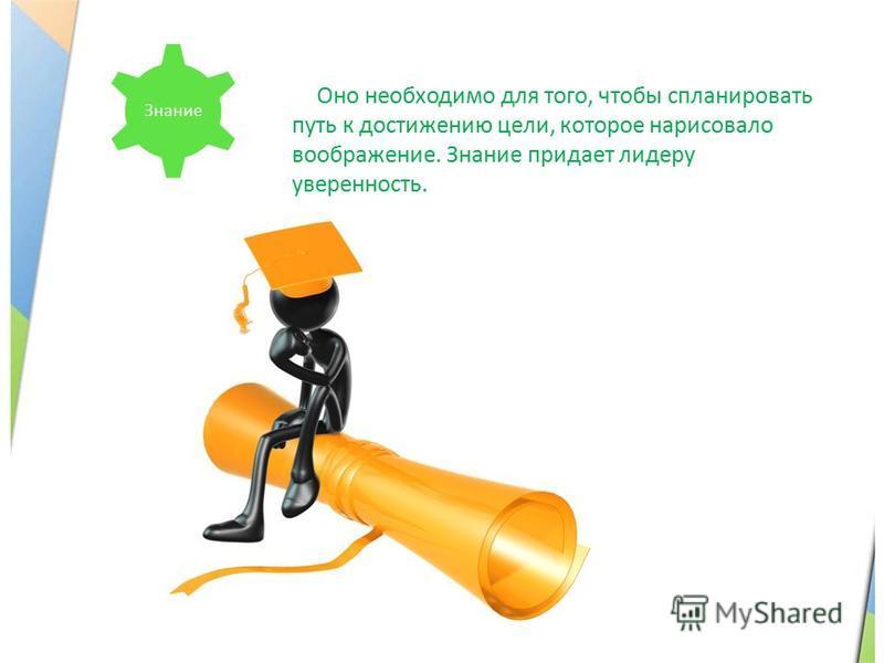 Знание Оно необходимо для того, чтобы спланировать путь к достижению цели, которое нарисовало воображение. Знание придает лидеру уверенность.