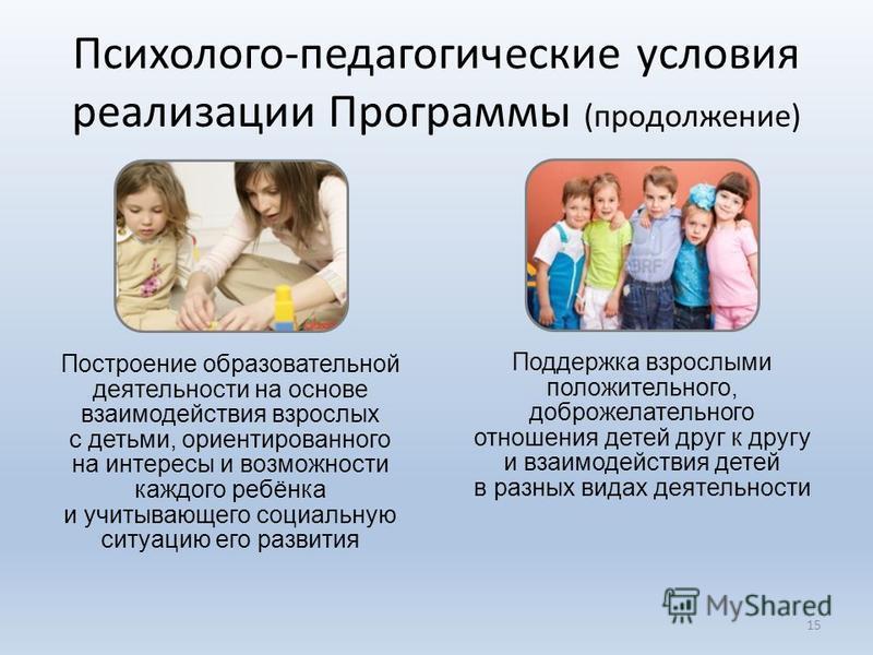 15 Построение образовательной деятельности на основе взаимодействия взрослых с детьми, ориентированного на интересы и возможности каждого ребёнка и учитывающего социальную ситуацию его развития Поддержка взрослыми положительного, доброжелательного от