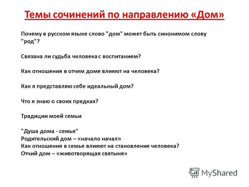 Темы сочинений по направлению «Дом» Почему в русском языке слово