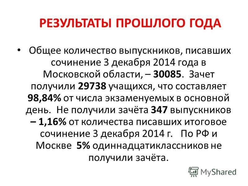 РЕЗУЛЬТАТЫ ПРОШЛОГО ГОДА Общее количество выпускников, писавших сочинение 3 декабря 2014 года в Московской области, – 30085. Зачет получили 29738 учащихся, что составляет 98,84% от числа экзаменуемых в основной день. Не получили зачёта 347 выпускнико