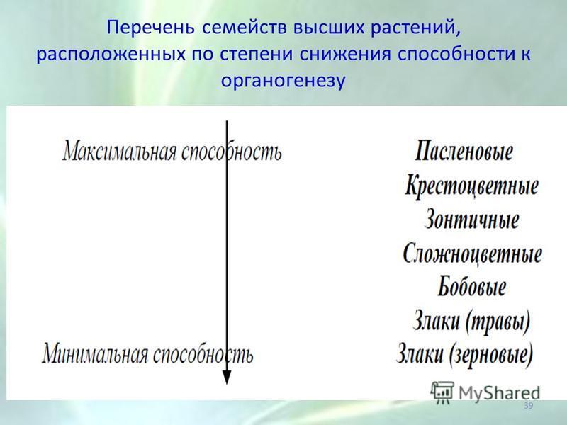 Перечень семейств высших растений, расположенных по степени снижения способности к органогенезу 39
