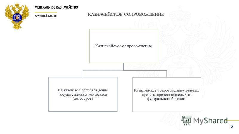 5 КАЗНАЧЕЙСКОЕ СОПРОВОЖДЕНИЕ Казначейское сопровождение Казначейское сопровождение государственных контрактов (договоров) Казначейское сопровождение целевых средств, предоставляемых из федерального бюджета