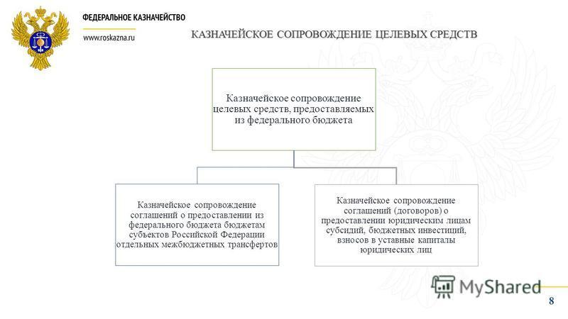 8 КАЗНАЧЕЙСКОЕ СОПРОВОЖДЕНИЕ ЦЕЛЕВЫХ СРЕДСТВ Казначейское сопровождение целевых средств, предоставляемых из федерального бюджета Казначейское сопровождение соглашений о предоставлении из федерального бюджета бюджетам субъектов Российской Федерации от