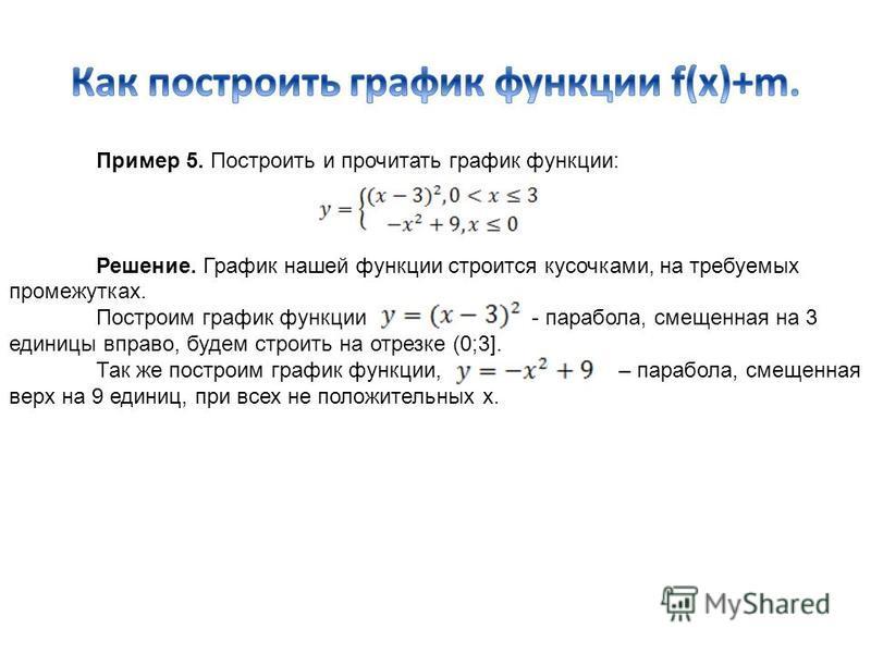 Пример 5. Построить и прочитать график функции: Решение. График нашей функции строится кусочками, на требуемых промежутках. Построим график функции - парабола, смещенная на 3 единицы вправо, будем строить на отрезке (0;3]. Так же построим график функ