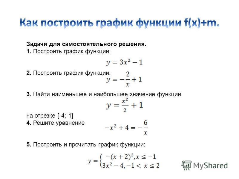 Задачи для самостоятельного решения. 1. Построить график функции: 2. Построить график функции: 3. Найти наименьшее и наибольшее значение функции на отрезке [-4;-1] 4. Решите уравнение 5. Построить и прочитать график функции: