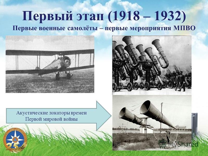 Первый этап (1918 – 1932) Первые военные самолёты – первые мероприятия МПВО Акустические локаторы времен Первой мировой войны
