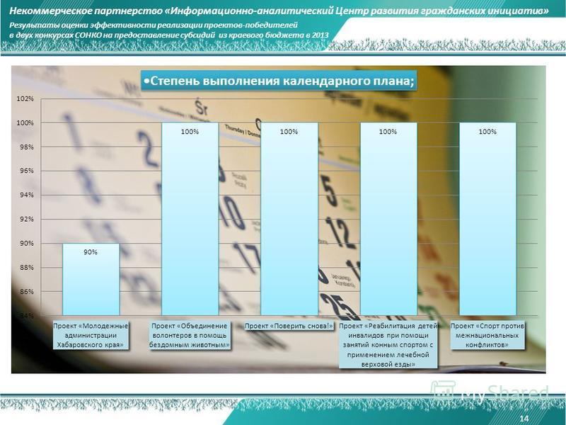 14 Некоммерческое партнерство «Информационно-аналитический Центр развития гражданских инициатив» Результаты оценки эффективности реализации проектов-победителей в двух конкурсах СОНКО на предоставление субсидий из краевого бюджета в 2013