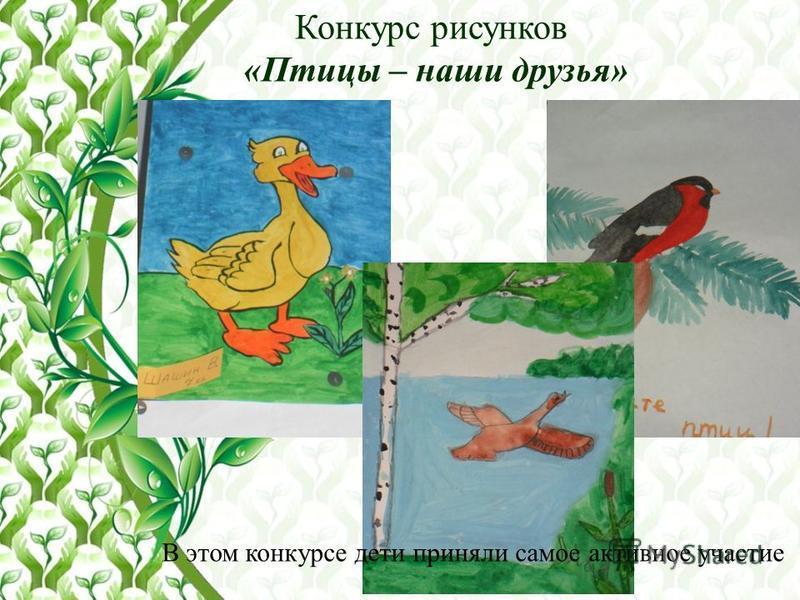 Конкурс рисунков «Птицы – наши друзья» В этом конкурсе дети приняли самое активное участие