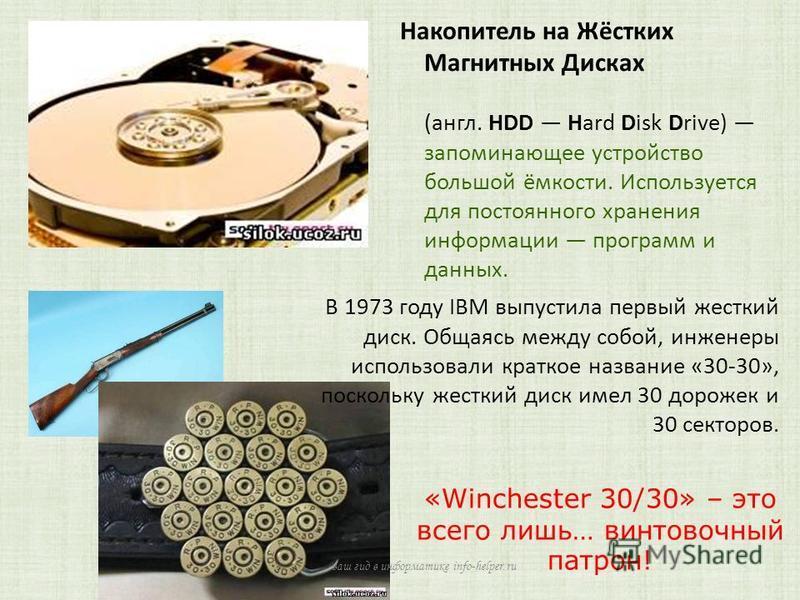 Накопитель на Жёстких Магнитных Дисках (англ. HDD Hard Disk Drive) запоминающее устройство большой ёмкости. Используется для постоянного хранения информации программ и данных. В 1973 году IBM выпустила первый жесткий диск. Общаясь между собой, инжене