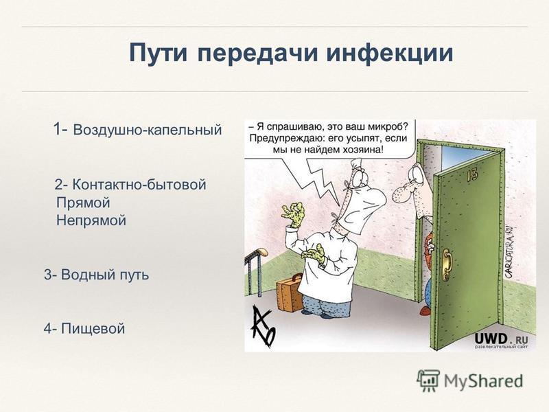Пути передачи инфекции 1- Воздушно-капельный 2- Контактно-бытовой Прямой Непрямой 3- Водный путь 4- Пищевой