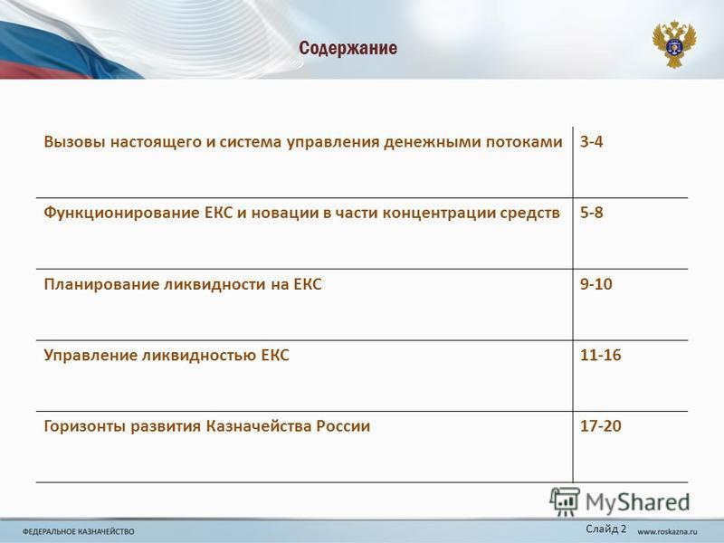 Содержание Вызовы настоящего и система управления денежными потоками 3-43-4 Функционирование ЕКС и новации в части концентрации средств 5-8 Планирование ликвидности на ЕКС9-10 Управление ликвидностью ЕКС11-16 Горизонты развития Казначейства России 17