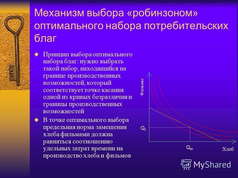Механизм выбора «робинзоном» оптимального набора потребительских благ Принцип выбора оптимального набора благ: нужно выбрать такой набор, находящийся на границе производственных возможностей, который соответствует точке касания одной из кривых безраз