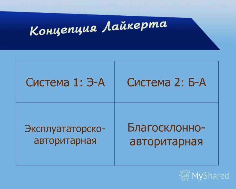Система 1: Э-АСистема 2: Б-А Эксплуататорско- авторитарная Благосклонно- авторитарная
