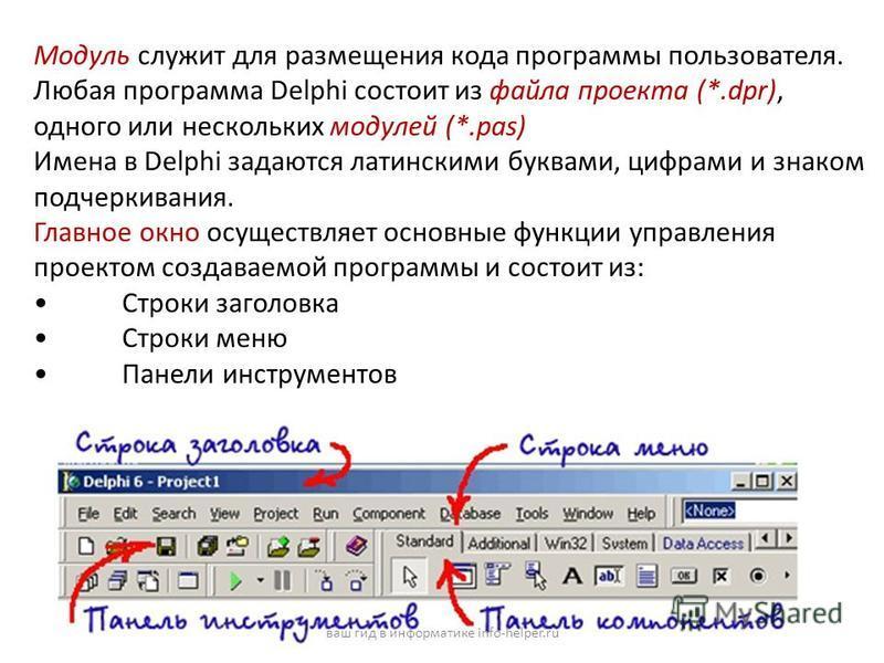 Модуль служит для размещения кода программы пользователя. Любая программа Delphi состоит из файла проекта (*.dpr), одного или нескольких модулей (*.pas) Имена в Delphi задаются латинскими буквами, цифрами и знаком подчеркивания. Главное окно осуществ