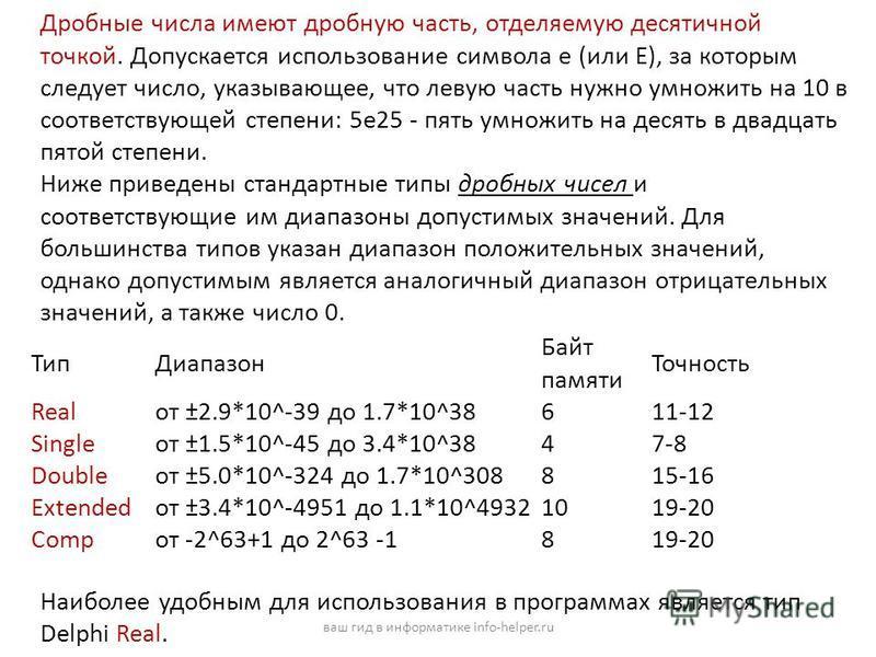 Дробные числа имеют дробную часть, отделяемую десятичной точкой. Допускается использование символа e (или E), за которым следует число, указывающее, что левую часть нужно умножить на 10 в соответствующей степени: 5e25 - пять умножить на десять в двад