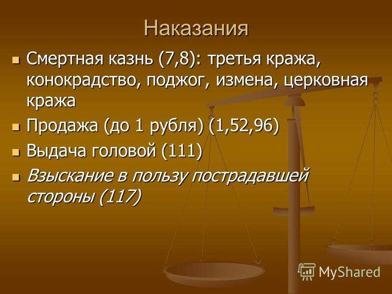 Наказания Смертная казнь (7,8): третья кража, конокрадство, поджог, измена, церковная кража Смертная казнь (7,8): третья кража, конокрадство, поджог, измена, церковная кража Продажа (до 1 рубля) (1,52,96) Продажа (до 1 рубля) (1,52,96) Выдача головой