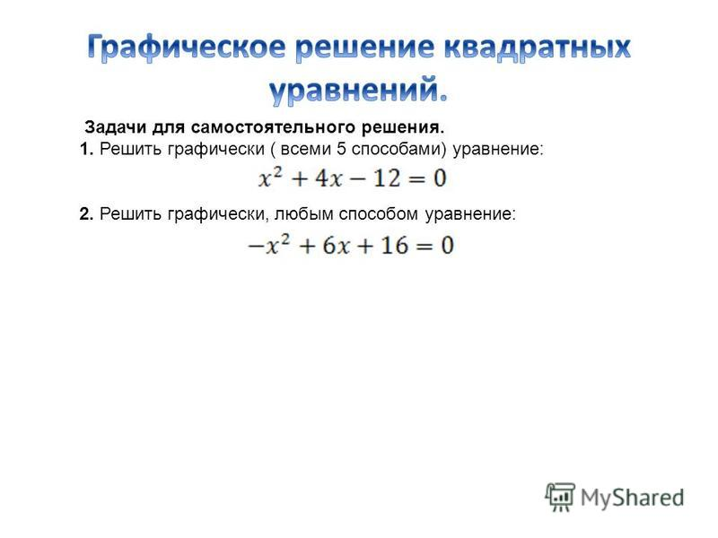 Задачи для самостоятельного решения. 1. Решить графически ( всеми 5 способами) уравнение: 2. Решить графически, любым способом уравнение: