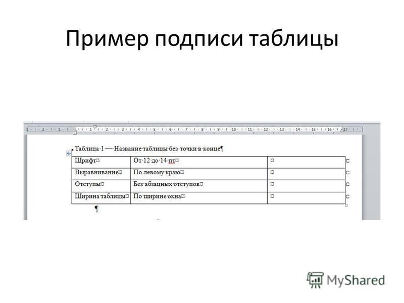 Пример подписи таблицы