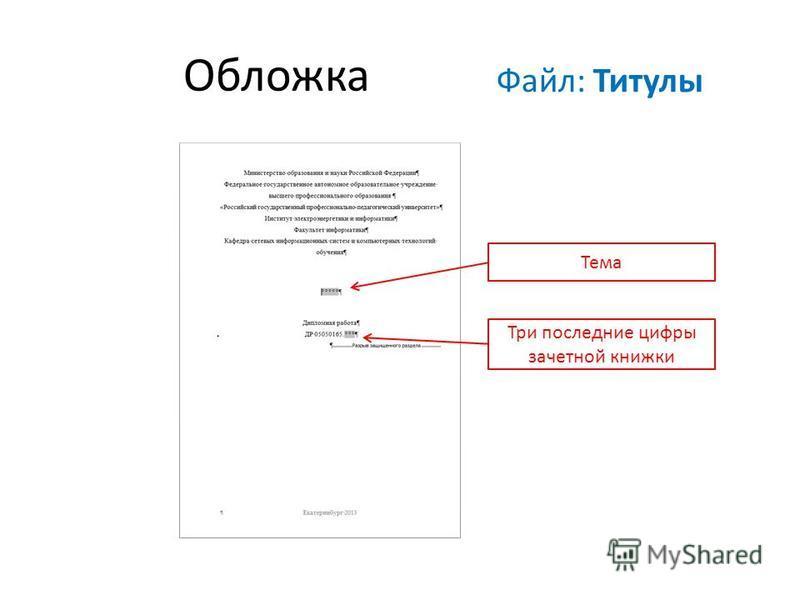 Обложка Тема Три последние цифры зачетной книжки Файл: Титулы