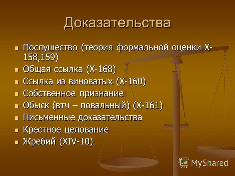 Доказательства Послушество (теория формальной оценки X- 158,159) Послушество (теория формальной оценки X- 158,159) Общая ссылка (X-168) Общая ссылка (X-168) Ссылка из виноватых (X-160) Ссылка из виноватых (X-160) Собственное признание Собственное при