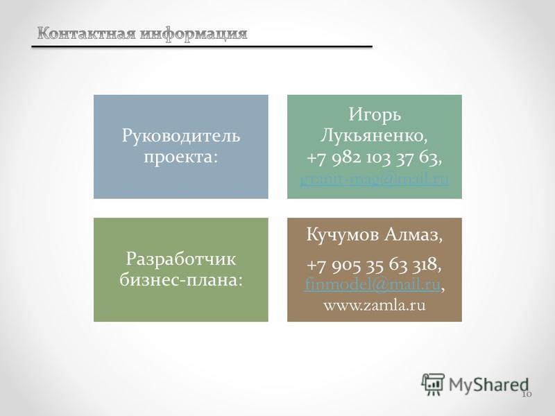 10 Руководитель проекта: Игорь Лукьяненко, +7 982 103 37 63, granit-mag@mail.ru granit-mag@mail.ru Разработчик бизнес-плана: Кучумов Алмаз, +7 905 35 63 318, finmodel@mail.ru, www.zamla.ru finmodel@mail.ru