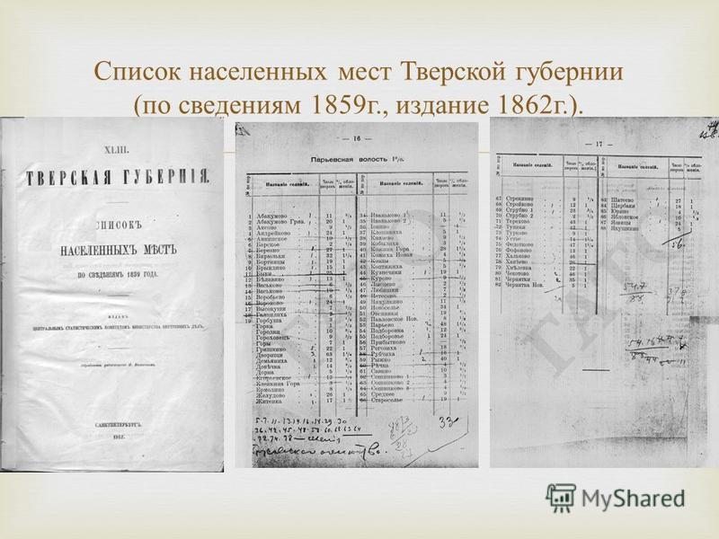 Список населенных мест Тверской губернии ( по сведениям 1859 г., издание 1862 г.).