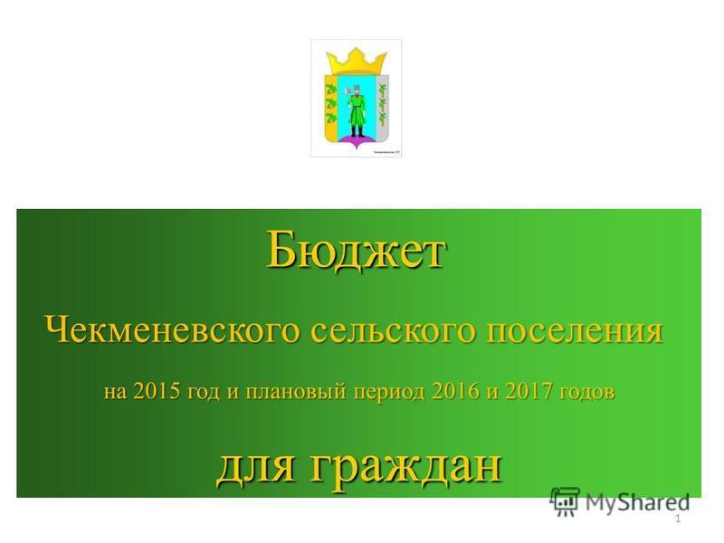 Бюджет Бюджет Чекменевского сельского поселения на 2015 год и плановый период 2016 и 2017 годов для граждан 1