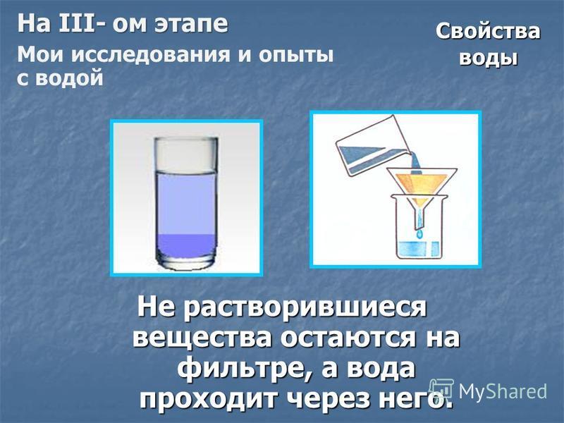 Свойства воды Не растворившиеся вещества остаются на фильтре, а вода проходит через него. Не растворившиеся вещества остаются на фильтре, а вода проходит через него. На III- ом этапе Мои исследования и опыты с водой