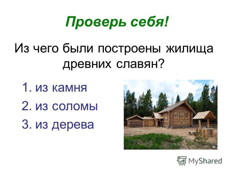 Из чего были построены жилища древних славян? Проверь себя! 1. из камня 2. из соломы 3. из дерева