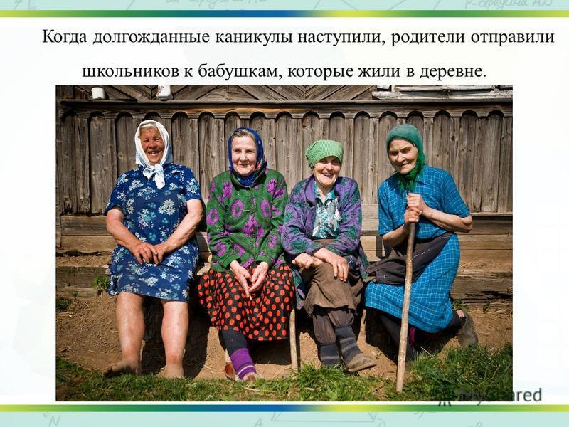Когда долгожданные каникулы наступили, родители отправили школьников к бабушкам, которые жили в деревне.