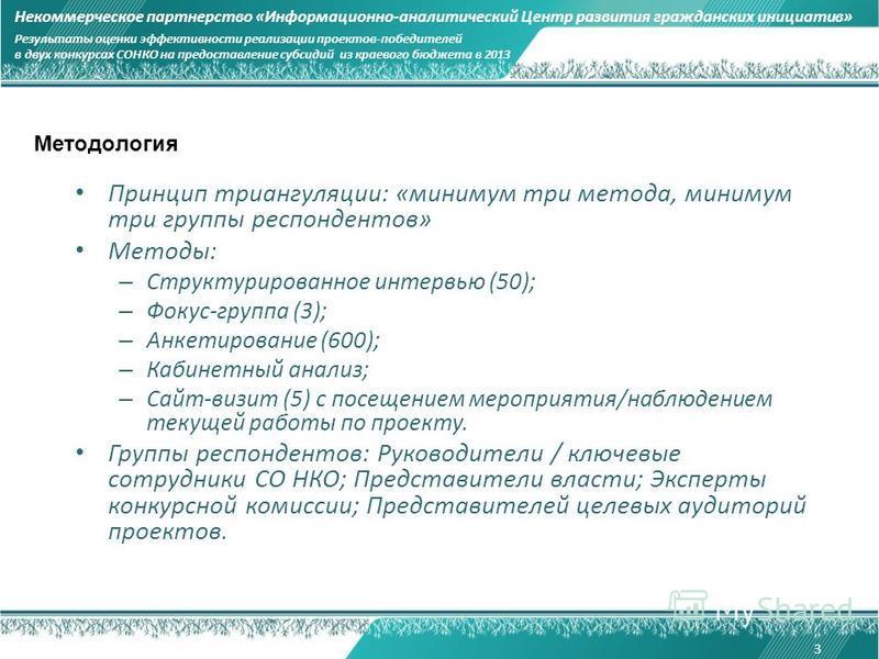 Методология Принцип триангуляции: «минимум три метода, минимум три группы респондентов» Методы: – Структурированное интервью (50); – Фокус-группа (3); – Анкетирование (600); – Кабинетный анализ; – Сайт-визит (5) с посещением мероприятия/наблюдением т