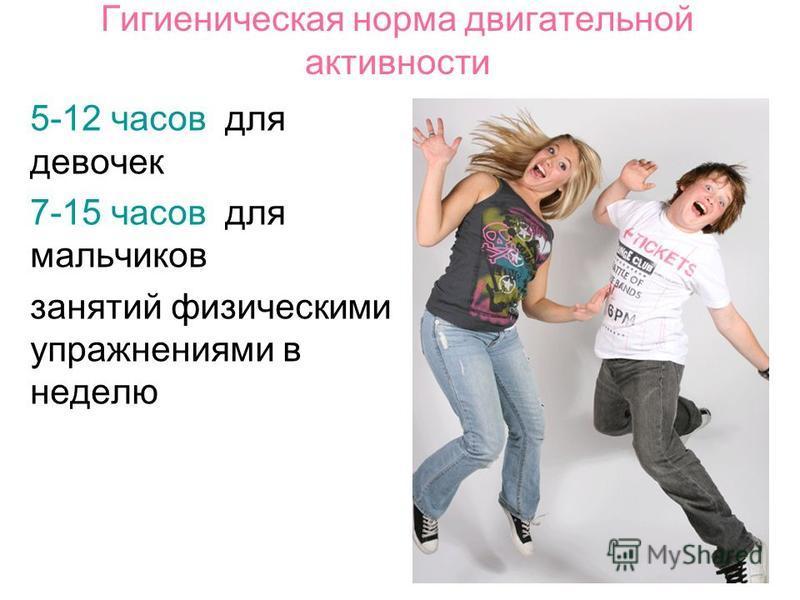 Гигиеническая норма двигательной активности 5-12 часов для девочек 7-15 часов для мальчиков занятий физическими упражнениями в неделю