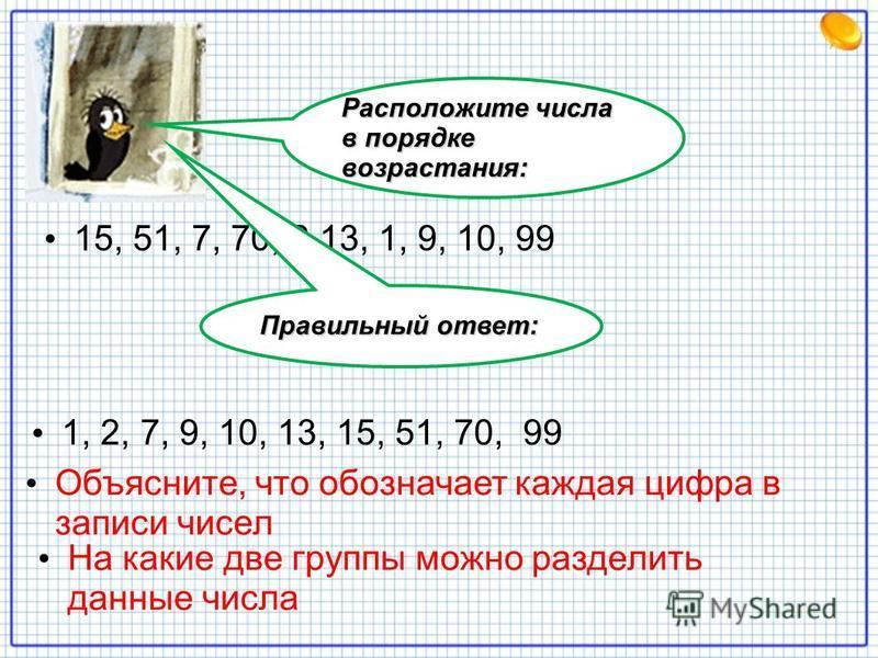 15, 51, 7, 70, 2,13, 1, 9, 10, 99 Расположите числа в порядке возрастания: Правильный ответ: 1, 2, 7, 9, 10, 13, 15, 51, 70, 99 Объясните, что обозначает каждая цифра в записи чисел На какие две группы можно разделить данные числа