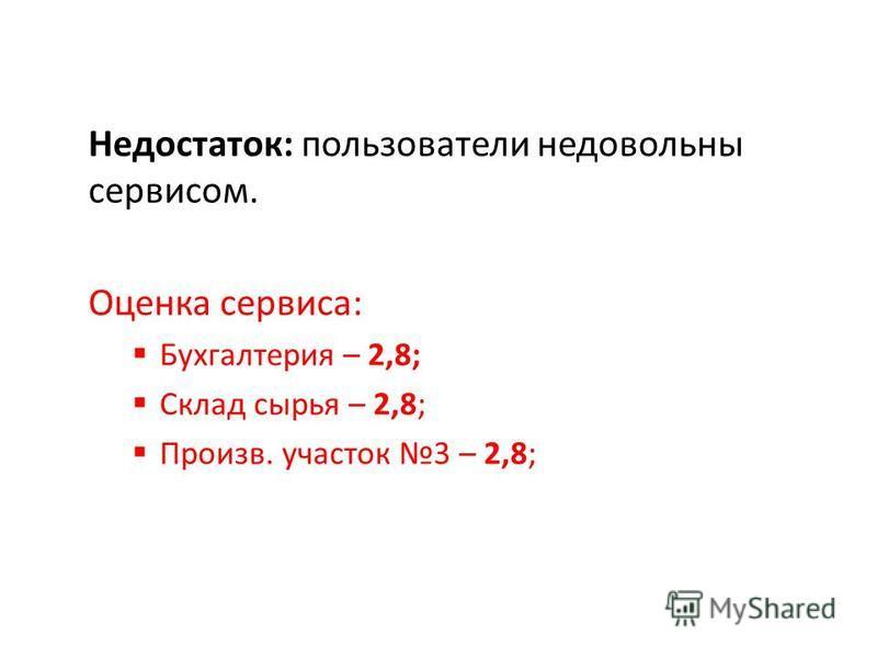 Недостаток: пользователи недовольны сервисом. Оценка сервиса: Бухгалтерия – 2,8; Склад сырья – 2,8; Произв. участок 3 – 2,8;