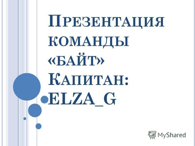 П РЕЗЕНТАЦИЯ КОМАНДЫ « БАЙТ » К АПИТАН : ELZA_G