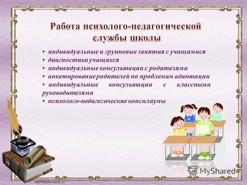 индивидуальные и групповые занятия с учащимися диагностика учащихся индивидуальные консультации с родителями анкетирование родителей по проблемам адаптации индивидуальные консультации с классными руководителями психолого-педагогические консилиумы