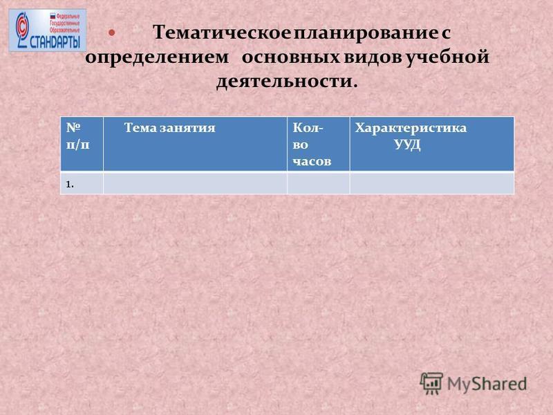 Тематическое планирование с определением основных видов учебной деятельности. п/п Тема занятия Кол- во часов Характеристика УУД 1.