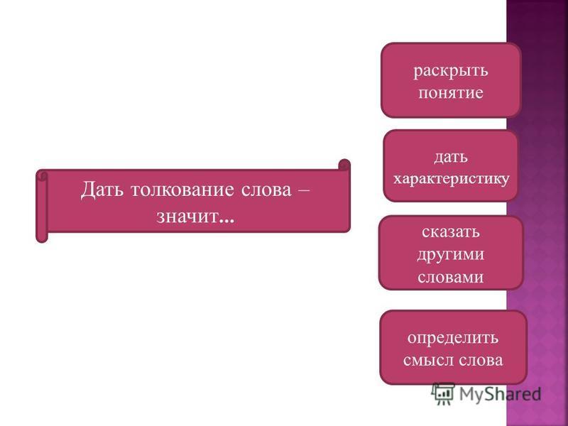 Дать толкование слова – значит … определить смысл слова сказать другими словами дать характеристику раскрыть понятие