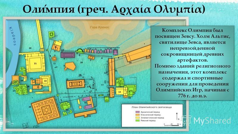 Комплекс Олимпия был посвящен Зевсу. Холм Альтис, святилище Зевса, является непревзойденной сокровищницей древних артефактов. Помимо зданий религиозного назначения, этот комплекс содержал и спортивные сооружения для проведения Олимпийских Игр, начина